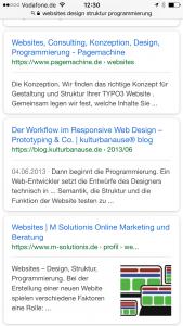 Websites - mark-up in den mobile serps